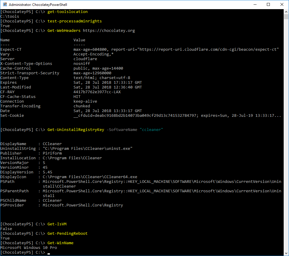 Screenshot example of Chocolatey PowerShell