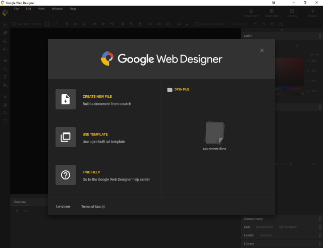 Screenshot of Google Web Designer