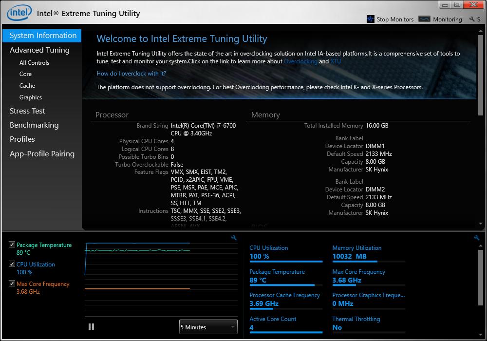 Screenshot of Intel XTU