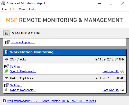Screenshot of Solarwinds MSP Advanced Monitoring Agent
