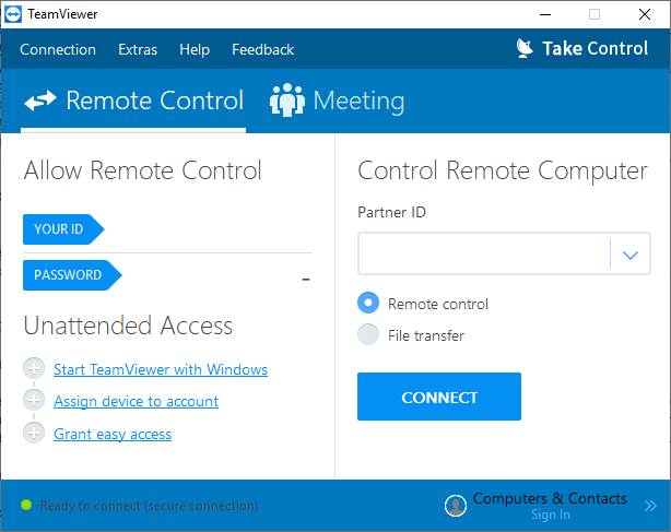 Screenshot of SolarWinds Take Control TeamViewer