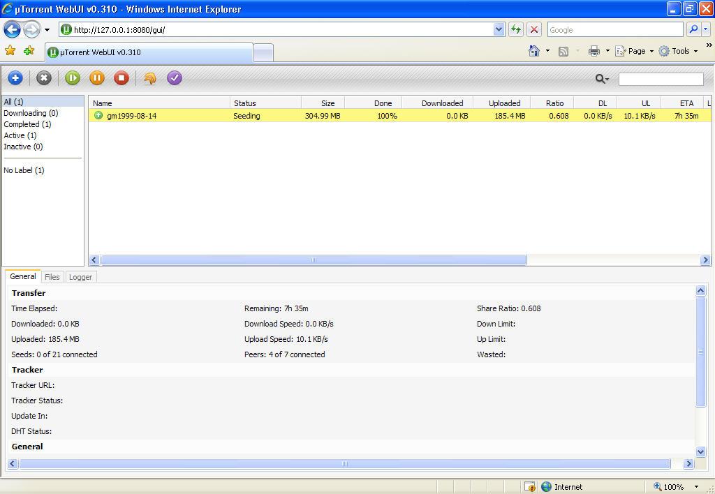 Screenshot of uTorrent WebUI