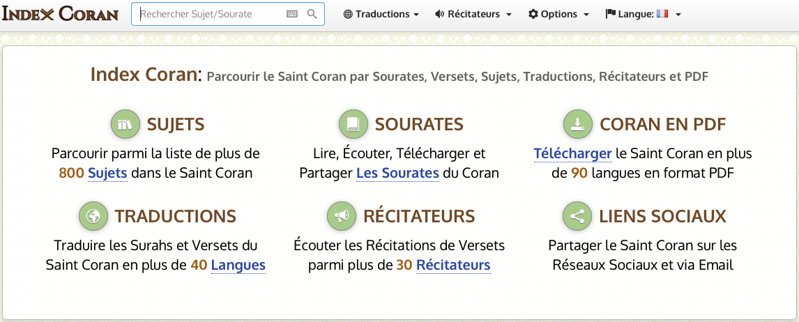 Télécharger le Saint Coran en format PDF et MP3 | Index Coran