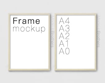 A3 poster frame mockup brightwood P2A4 A4 brown wood double frame mock up Two wooden frame mockup twin poster frame mock ups