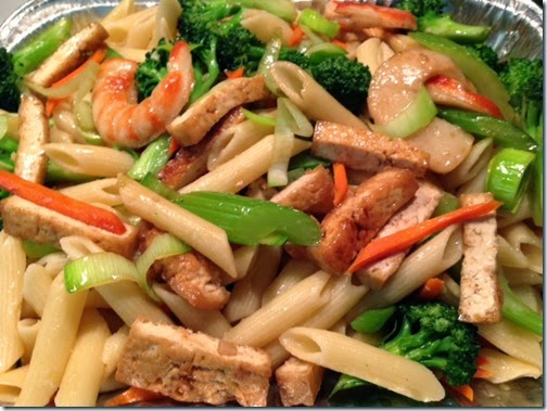 mon chay khuay chien pasta