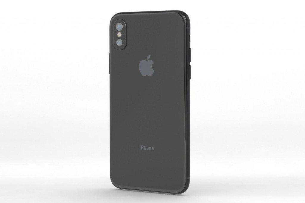 iPhone 8 showing its back in black color