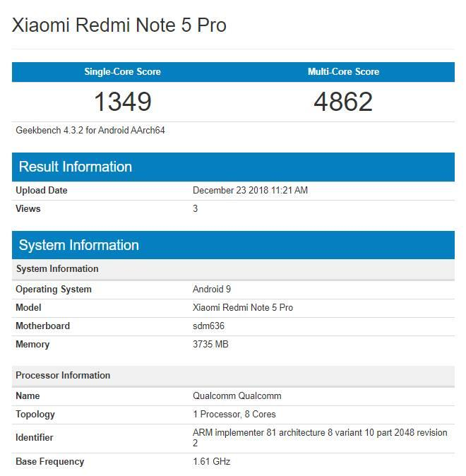 Redmi Note 5 Pro SD660 Pie Geekbench