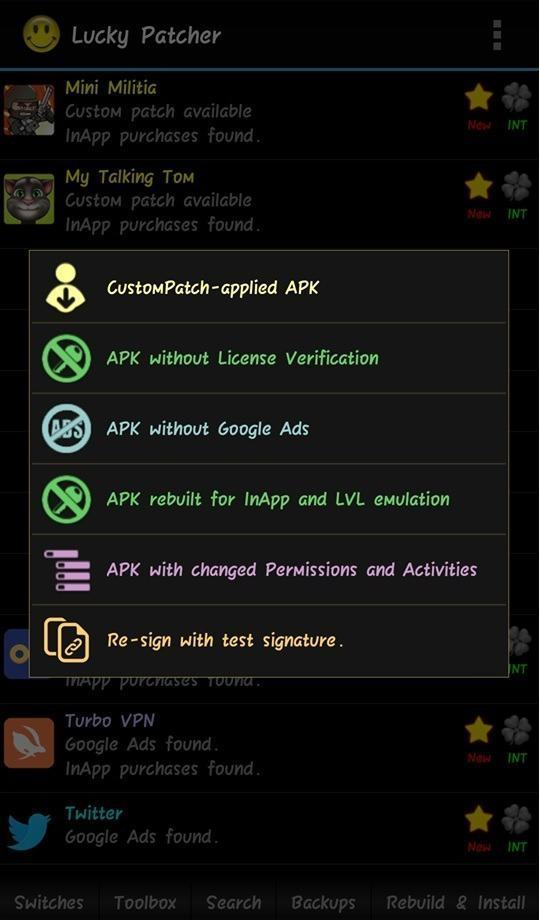 Lucky Patcher Tools Menu